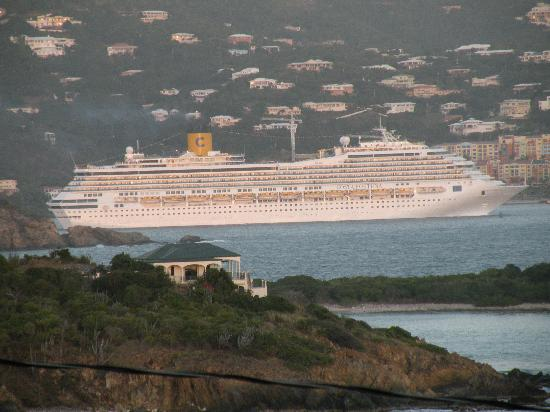 Virgin Islands Campground: Cruise Ship leaving at sunset