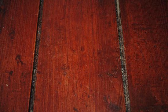 Penzion U Novaku: Wooden floor in the kitchen.