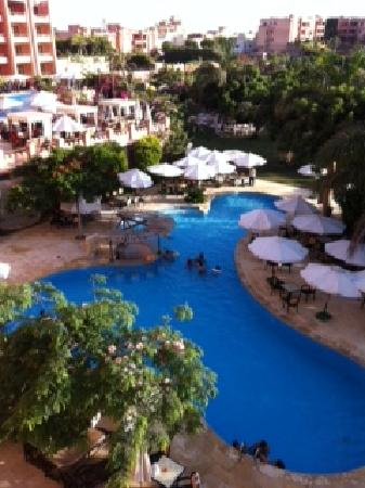 Africana Hotel: the view from floor 4, over the left wing pool