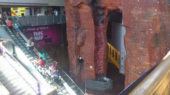 Castleford, UK: indoor climbing wall with overhead jungle gym