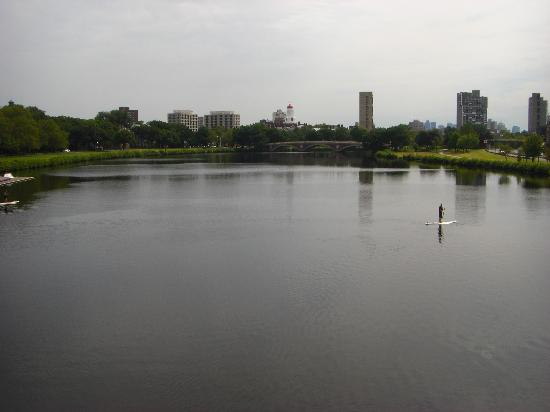 Charles River Bike Path: Looking along the river from one of the bridges