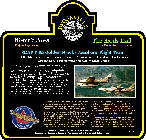 Golden Hawk CF-86 Sabre Jet: Information about the significance of the Golden Hawks to the air history of Canada is given on