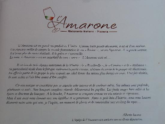 L'Amarone: Cette histoire nous fut contée !!