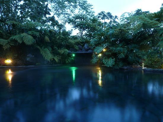 Hotel El Silencio del Campo: Piscina termal de noche