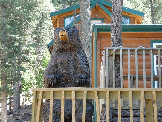Noisy Water Lodge: The Cabin Mascot -- not the only bear you'll see!
