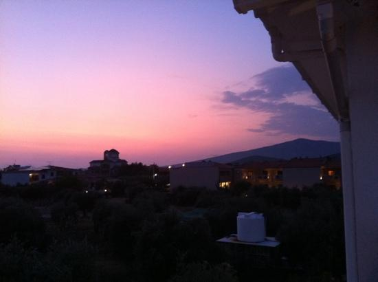 Aegean Villas : Sunset over Potos from Jim and Lynnes balcony