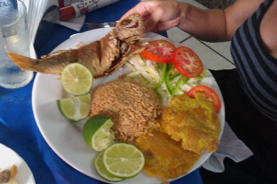 Tours in Rosario islands : Comida tipica (fried fish, fresh salad, plantains and coconut rice) Yummy! :)