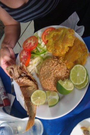 Tours en Islas del Rosario: Comida tipica (fried fish, fresh salad, plantains and coconut rice) Yummy! :)