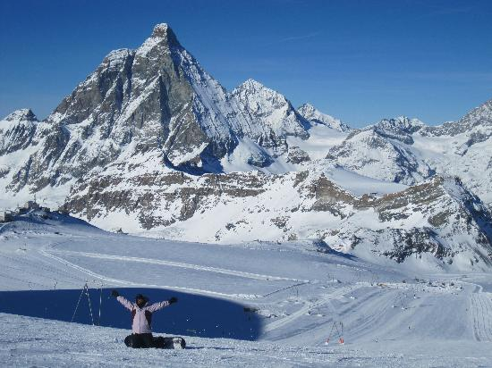 Snowboarding In the Shadow of the Matterhorn Picture of Zermatt