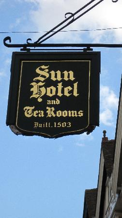 Sun Hotel and Tea Rooms: SIgn in front