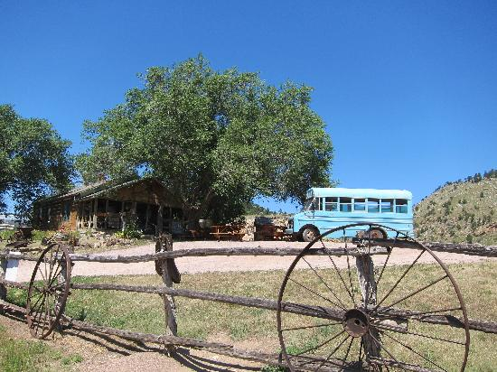 The Black Hills Wild Horse Sanctuary: Original homestead now the main office, blue tour bus in front