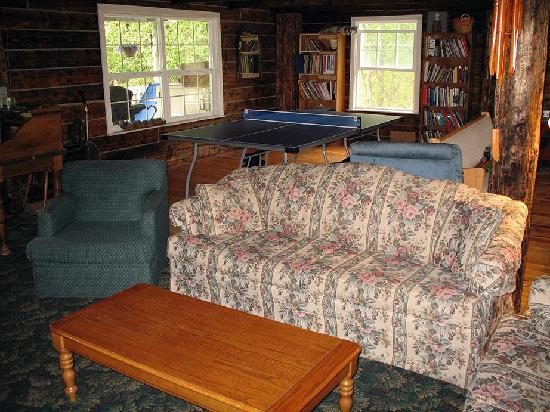 Log Cabin Inn: Looking down from the loft at the ping pong table