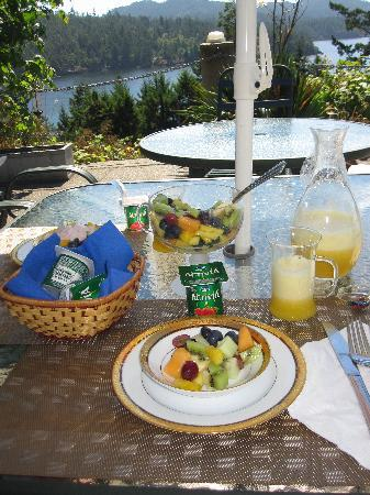 Moonlit Cove B&B: Fruits and fresh juice for breakfast