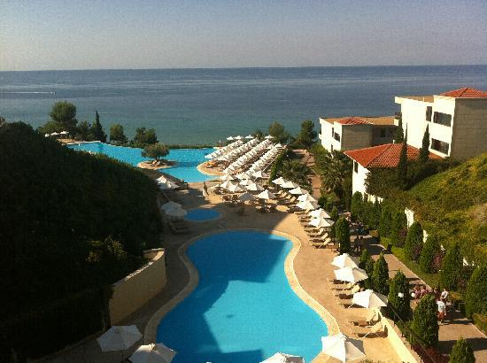 Ikos Oceania: the pools and sea as seen from the Main Restaurant
