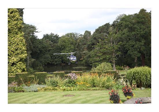 Tylney Hall: Helicopter landing in the Italian gardens