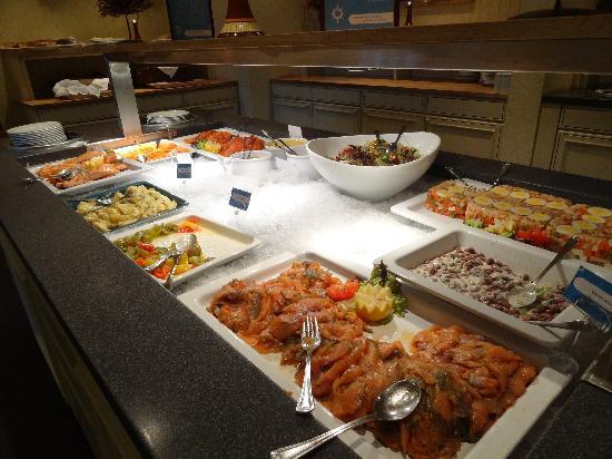 Roeros Hotel: part of the buffet line, lots of salmon.