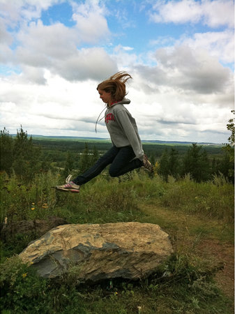 Eveleth, MN: My Irish dancer, leaping on top of the Leonidas Overlook!