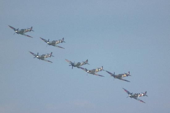 Duxford, UK: Spitfires over Duxford