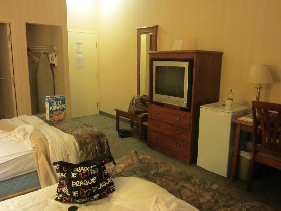 Quality Inn & Suites Downtown : TV and fridge