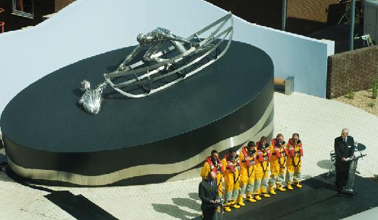 RNLI Memorial Sculpture: Elevated view of the RNLI Memorial ceremony (Credit RNLI/Nigel Millard)