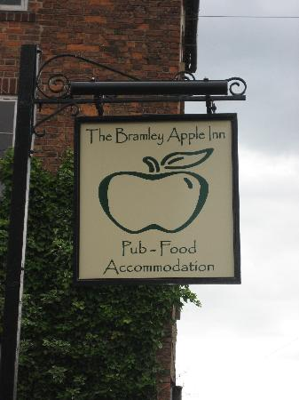 The Bramley Apple Inn: The sign at the front of the inn