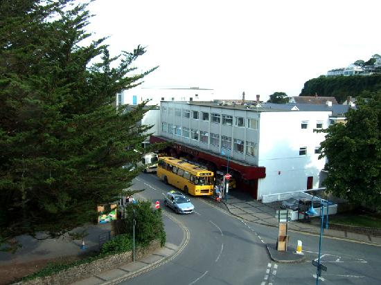 The Gower Hotel and Orangery Restaurant: View from window overlooking main road/amusement arcade (sea view in the distance)