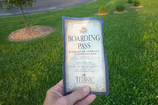 "Titanic Museum: ""boarding pass"" ticket"
