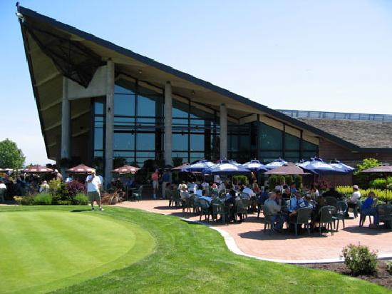 Mayfair Lakes Golf and Country Club: The clubhouse and patio