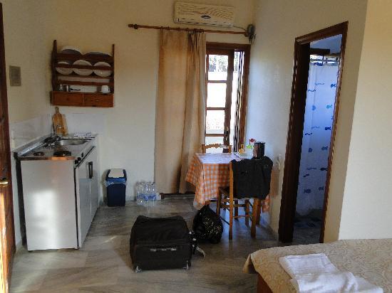 Alexandros Studios: chambre 2 vue kitchenette