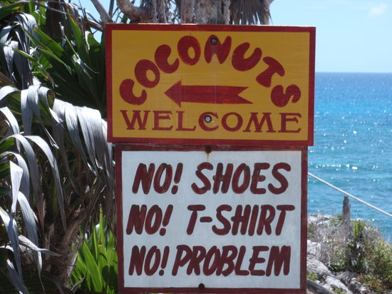 Coconuts Bar and Grill : Sign says it all...