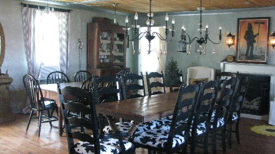 Hazen Manor: dining area...(there are spoons hanging from the Chandeliers)