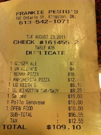 Beispiel Rechnung - Picture of Frankie Pestos Italian eatery ...
