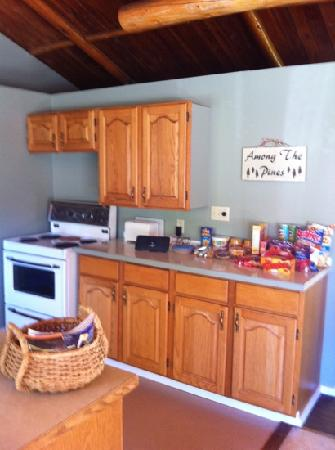 The Canim Lake Beach House : The cabin had a huge beautiful kitchen fully stocked with dishes, pots/pans and utensils