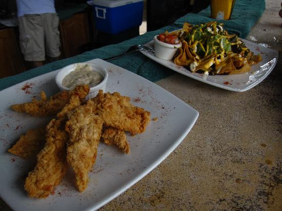 Hotel Mountain Paradise: Yummy fish fingers and nachos at wet bar!