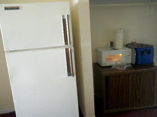 Red Tree Inn Oceanfront: Fridge and microwave area