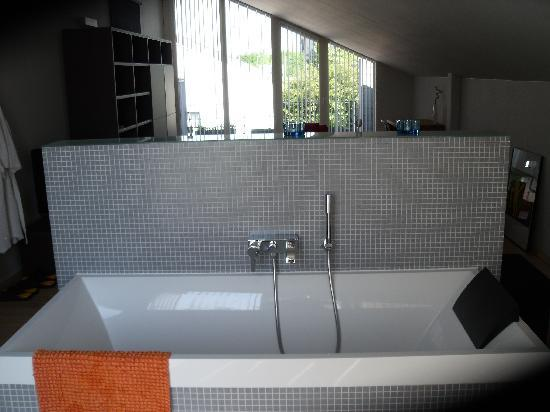 Aquarius Guesthouse: Bath Tub with splash Back