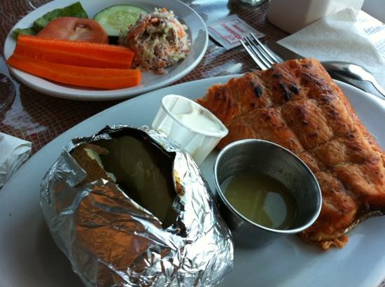 Baddeck Lobster Supper: plank salmon