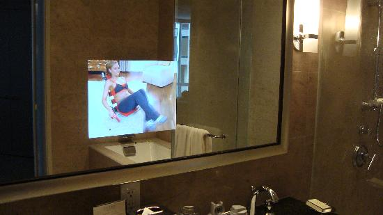Trump International Hotel Tower Chicago TV Built Into The Mirror In Bathroom