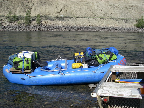 Fraser River Rafting: This boat is loaded with our gear for the Thompson River portion of the trip.