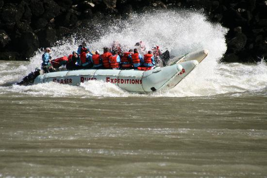 Fraser River Rafting: That's Lisa piloting the boat, we're in the front getting wet!