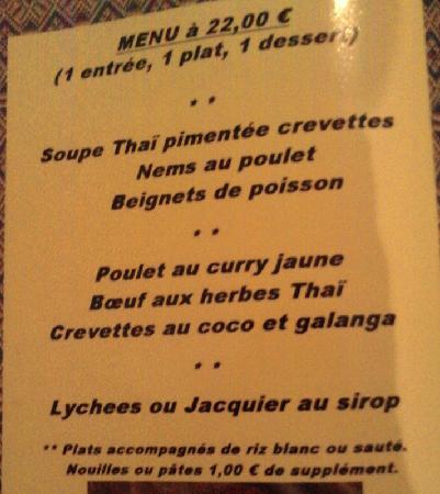 Kloung Soukhothai & Abet : menu