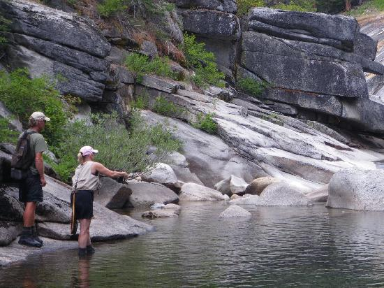Sierra Fly Fisher Tours: Wife with guide, Norm