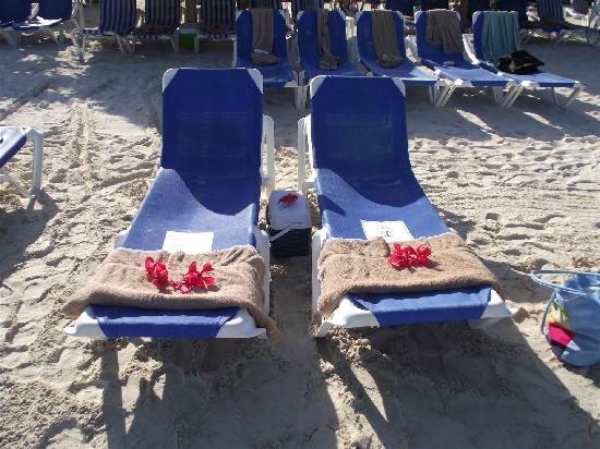 Sandals Montego Bay: Reserved Loungers With Cooler of Beer and Water, We Chose This Location Away From Palapa Shade