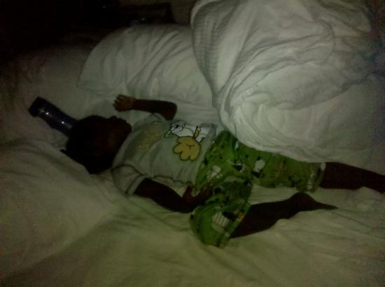 Days Inn Chicago: My godson taking up the whole bed. It was heavenly!