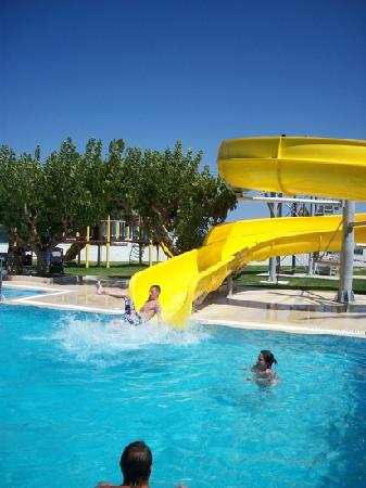 Mitsis Faliraki Beach Hotel & Spa: son enjoying the slide
