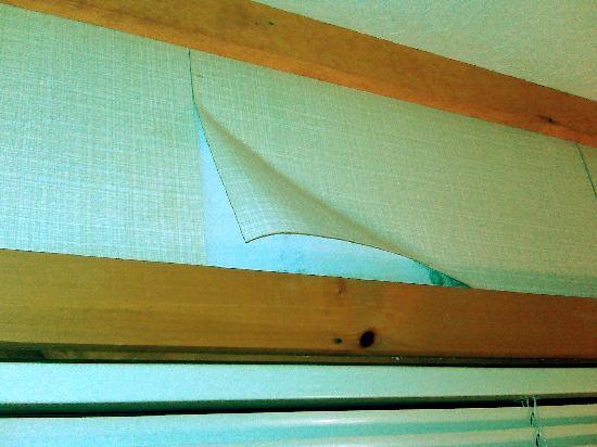 Chalet High Resort : Master bedroom wallpaper peeling off revealing mold underneath.