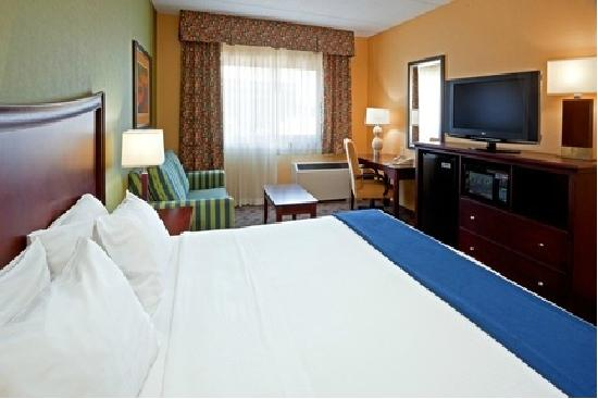 Hampton Inn Albany-Western Ave/University Area: Example of King room, including convertible sofa bed.