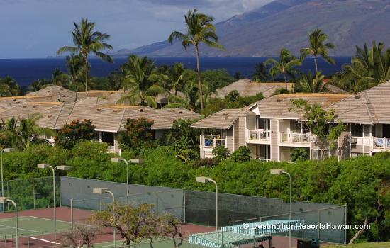 Wailea Grand Champions Villas with a Glimpse of the Tennis Courts at the Wailea Tennis Center an