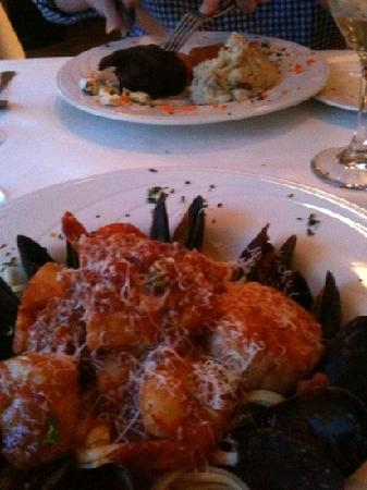 Yellowfin's: seafood linguini and filet