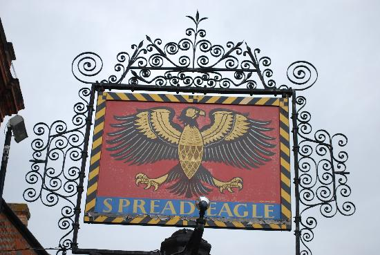 The Spread Eagle Hotel: Carrington's famously painted inn sign